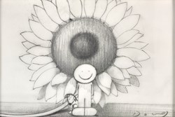 Here Comes The Sun II (study) by Doug Hyde - Original Drawing on Mounted Paper sized 6x4 inches. Available from Whitewall Galleries